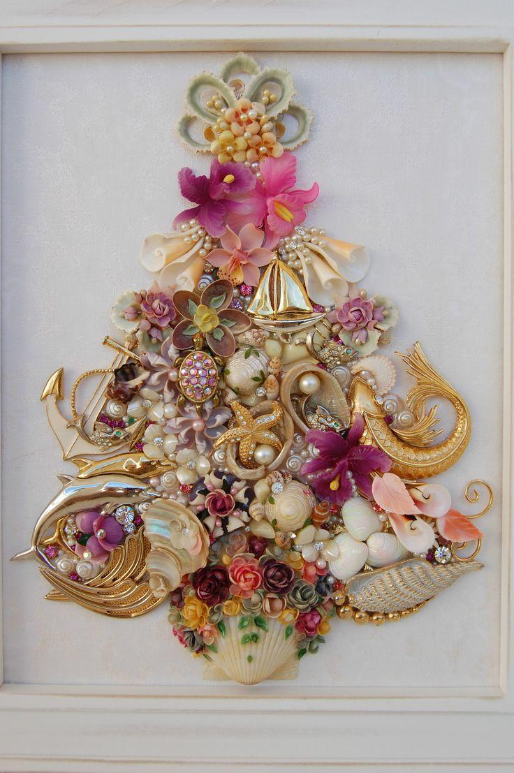 Vintage Jewelry Framed Christmas Tree ♥ Shells Flowers Fish Tropical