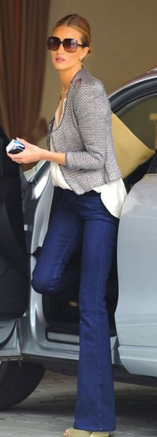 Love Rosie Huntingdon Whitley-- slight flare jeans, cropped jacket, silk blouse .. so chic!