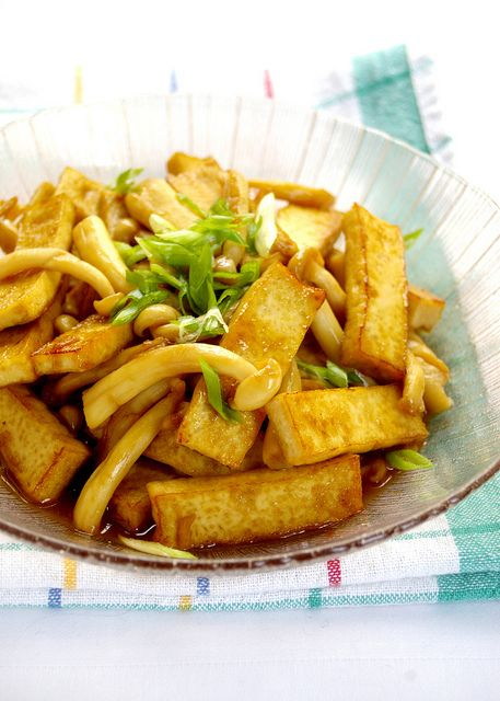 Stir-fried Tofu with Snow Mushroom | Tabemono | Pinterest