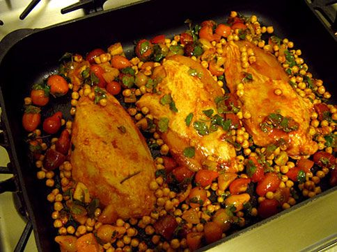 Roast Chicken Breasts with Garbanzo Beans, Tomatoes, and Smoked ...