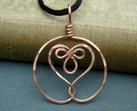 Celtic Embraced Heart Copper Pendant by nicholasandfelice on Etsy, $ 15.00