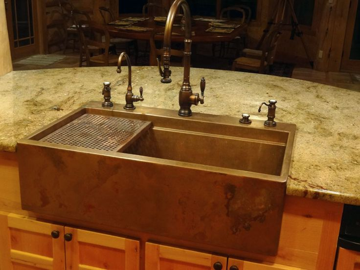 www Rachiele com Custom top mount copper apron front (Farmhouse) sink
