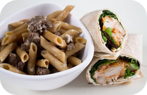 Easy lunch ideas: breaded baked chicken wrap with lettuce; sausage and ...