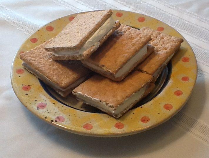 Cool whip and graham cracker frozen sandwiches.