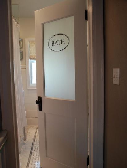 Frosted bathroom door master bathroom pinterest for Master bathroom door