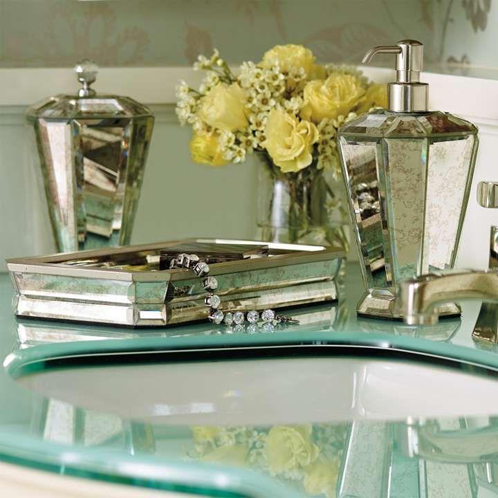 Antique Mirror Bath Accessories  Home Sweet Home  Pinterest