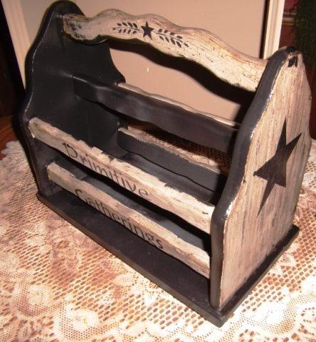 Primitive wood magazine rack crackle farmhouse country