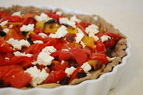 carmelized onion, roasted red pepper and feta tart
