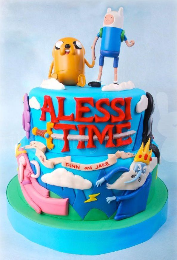 Adventure time cake. YES. Everything at once. Pinterest
