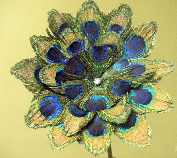 Queen Peacock Feather Flower by CherubinoCrafts on Etsy, $40.00