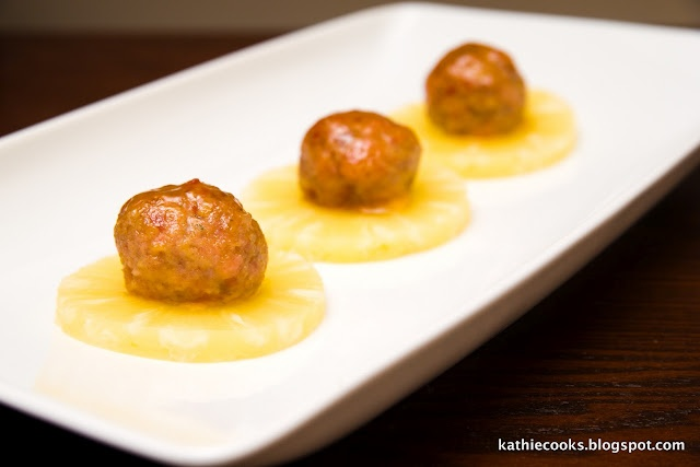 Pineapple Glazed Ham Balls... look how cute they are served on ...
