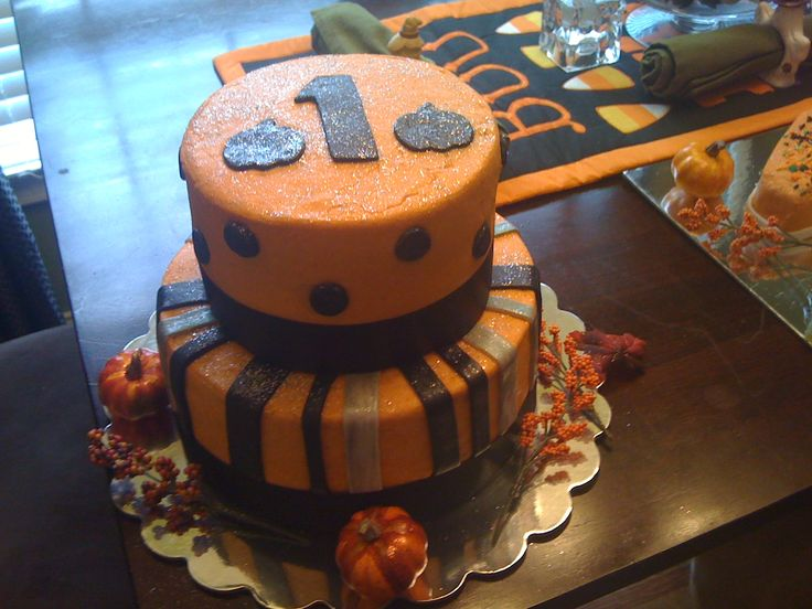 Fall colored themed birthday cake 1st bday ideas pinterest