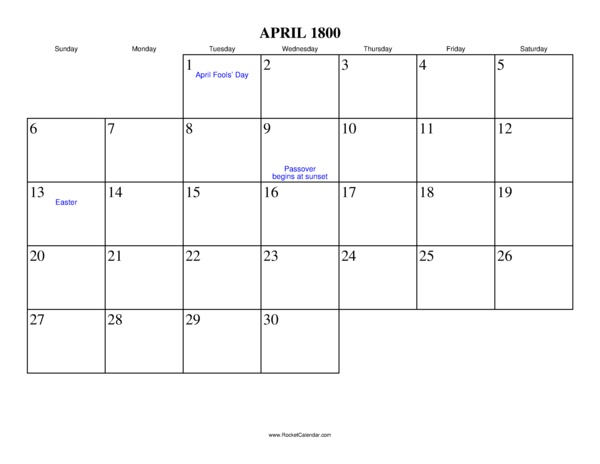 April 1800 Calendar, calendars from the year 1800-to 2099 and weekly ...