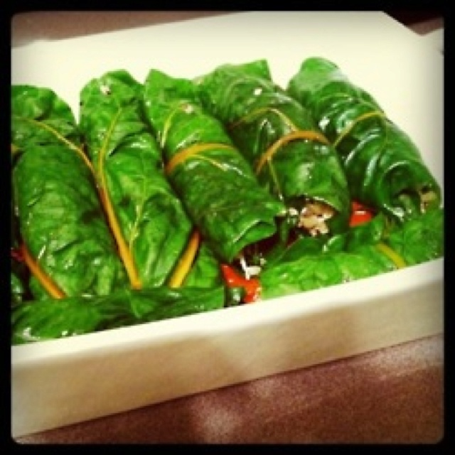 chard leaves filled with a mixture of brown rice, quinoa, mushrooms ...
