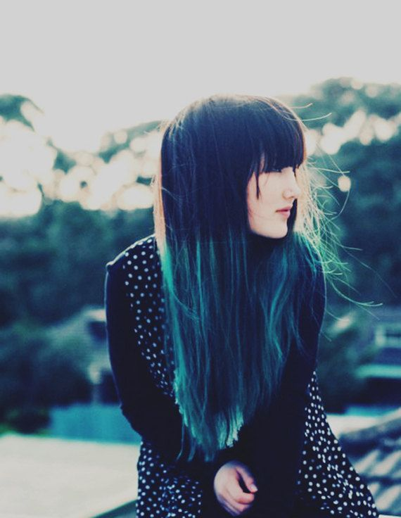 black to turquoise ombre hair - photo #41