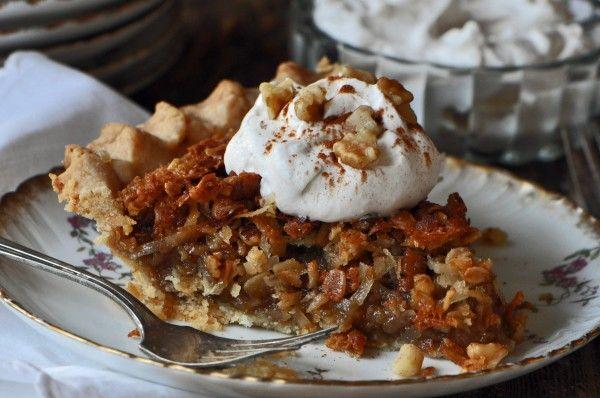 Maple Oatmeal Walnut Pie Recipe   4 & 20 Blackbirds baked in a PIE ...