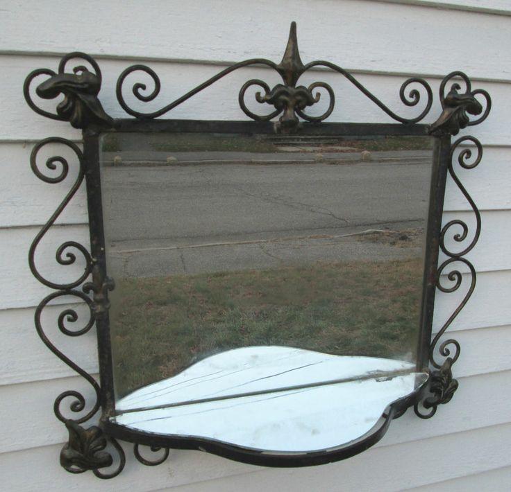 Vintage Shabby 39 N Chic French Wrought Iron Wall Shelf W Mirror Fle