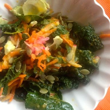 Kale, Dulse, and Avocado Salad with Carrot Ginger Dressing