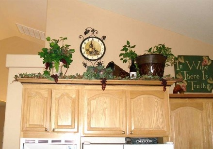 Decorating above cabinet wine theme kitchen 1 pinterest for Decorating ideas for above kitchen cabinets