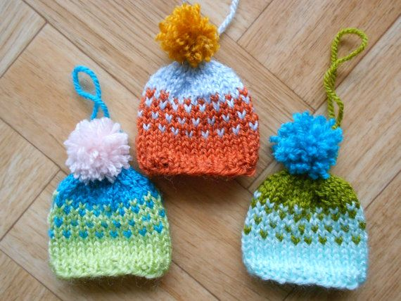 hat ornaments - Vegan yarn hand knitted Christmas tree decorations ...