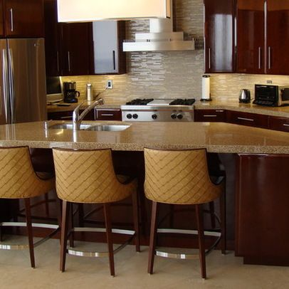 Glass And Stone Rectangular Mix Tile Contemporary Kitchen