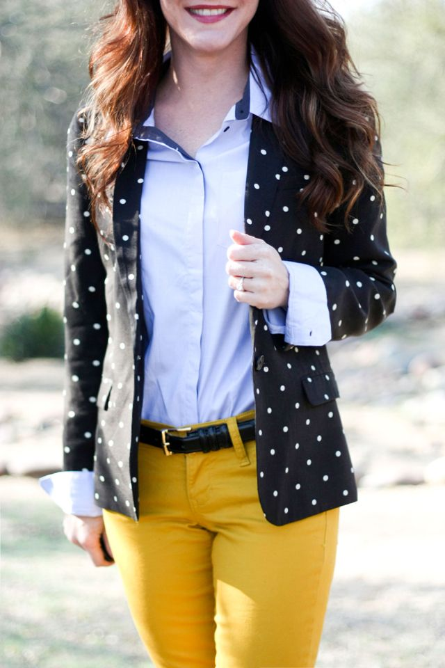 Polka dot blazer and yellow jeans