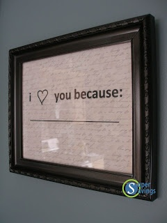 """I love you because ____"" frame tutorial.....Pinterest inspired"