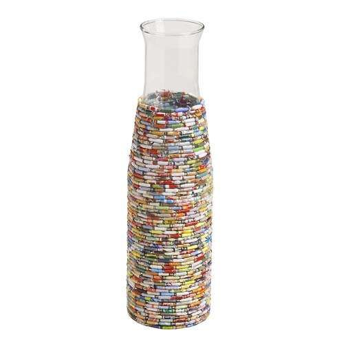 magazine beads on vase. #recycled #crafts