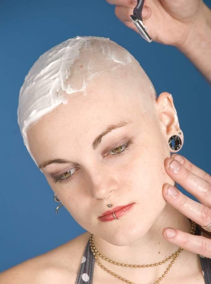 Shaving Women Haircut Bald
