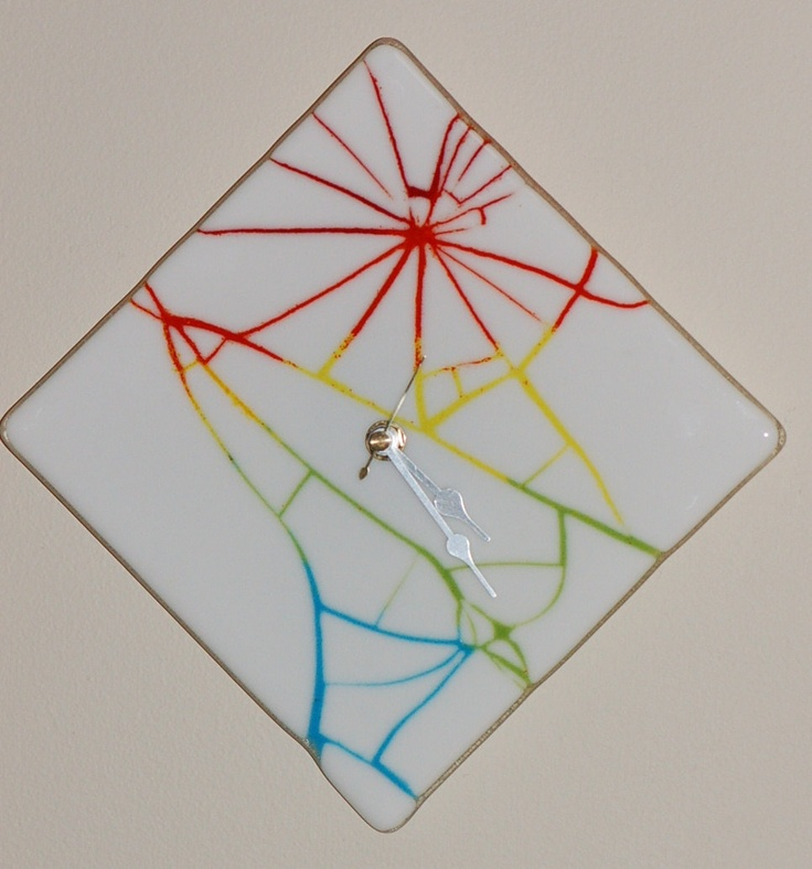 fused glass white cracked wall clock 311 via
