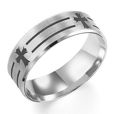 mens wedding rings with crosses | Men's 7.0mm Comfort Fit Laser Cross ...