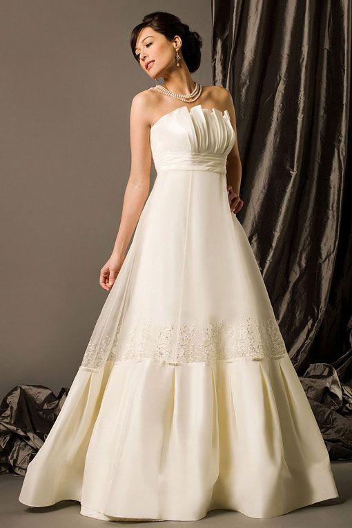 Scalloped-edge empire waist A-line taffeta wedding dress