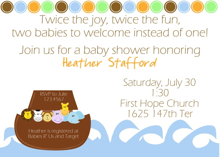 Noahs Ark Baby Shower Invitation  Baby showers  Pinterest