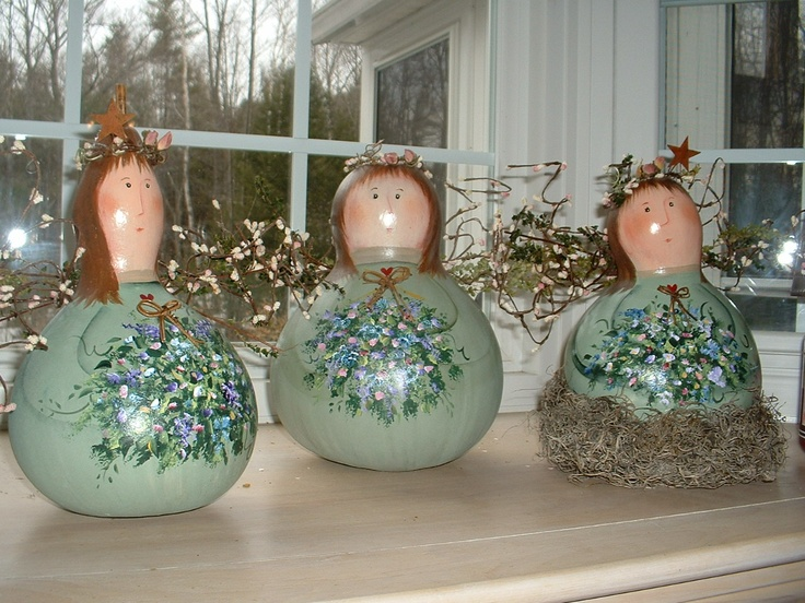 Hand painted baileys studio angel gourds crafts pinterest