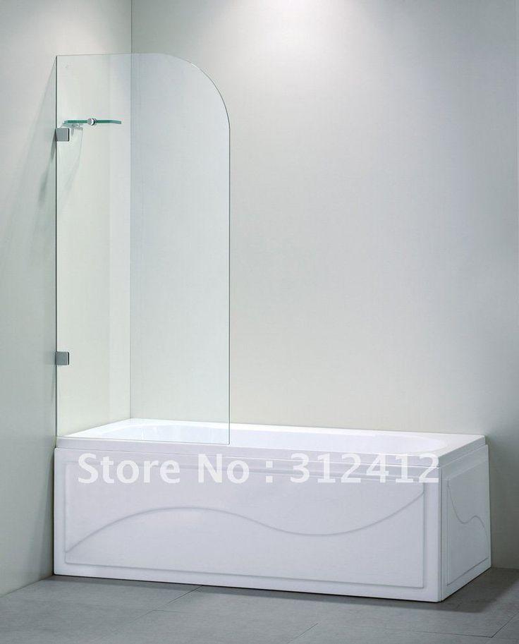 Tub shower doors glass frameless bathroom pinterest for Tub shower glass enclosure