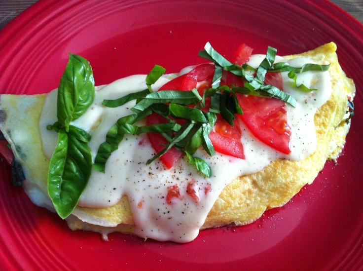 Egg white Caprese Omelette by me. It was lovely! Fresh tomatoes, basil ...