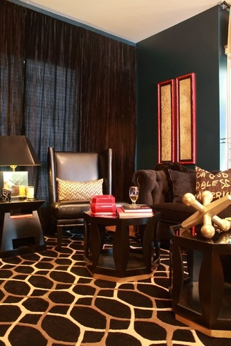 teal red black brown gold interior design living room pinter