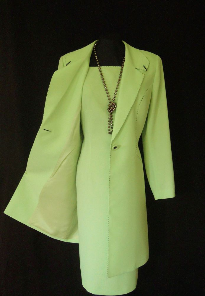 Condici wedding outfit size 14 green navy dress coat suit for Dress jacket for wedding guest