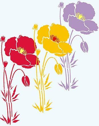 Poppy stencils giant poppy stencil 1 oversize wild poppy stencil