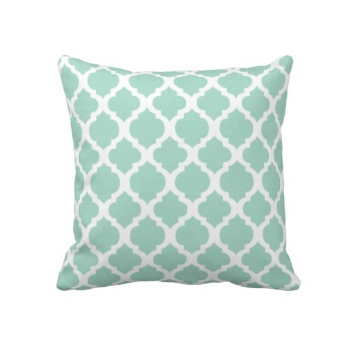 Mint Green And Brown Throw Pillows : Mint green and white Moroccan Throw Pillow
