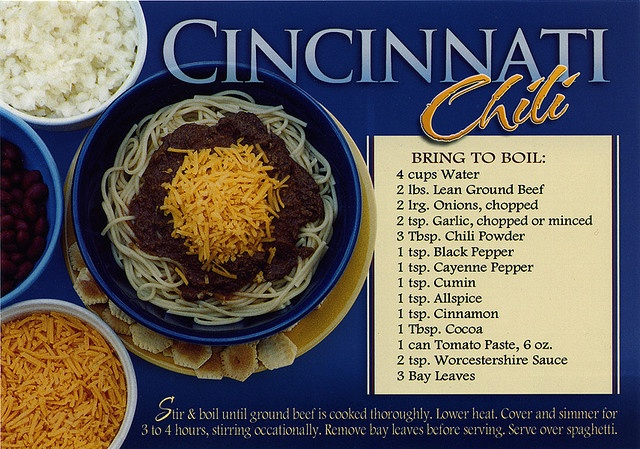 Cincinnati Chili. I usually use the pre made mix so maybe I'll have to ...