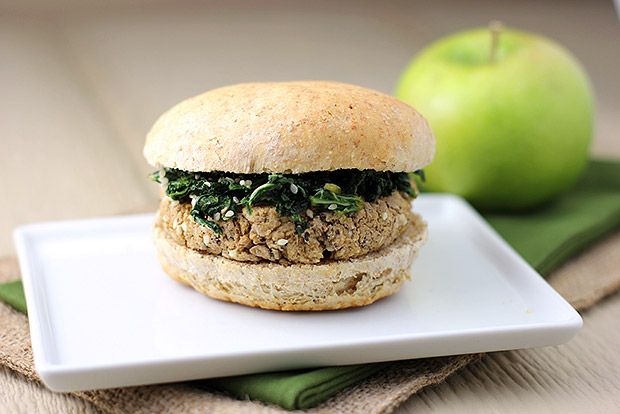 Black-eyed Pea and Sesame Burgers with Sweet Soy Kale - Vegan if sub ...