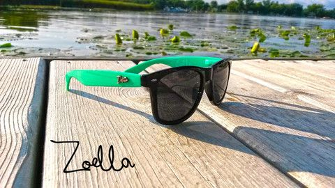 Zoella Mint/Black - Polarized Smoke Lens- Eminence - Detour Sunglasses