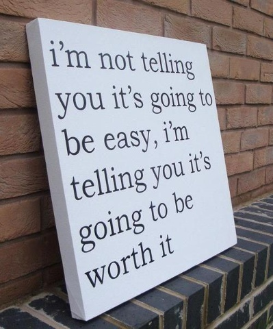 I'm not telling you it's going to be easy, i'm telling you it's going to be worth it...