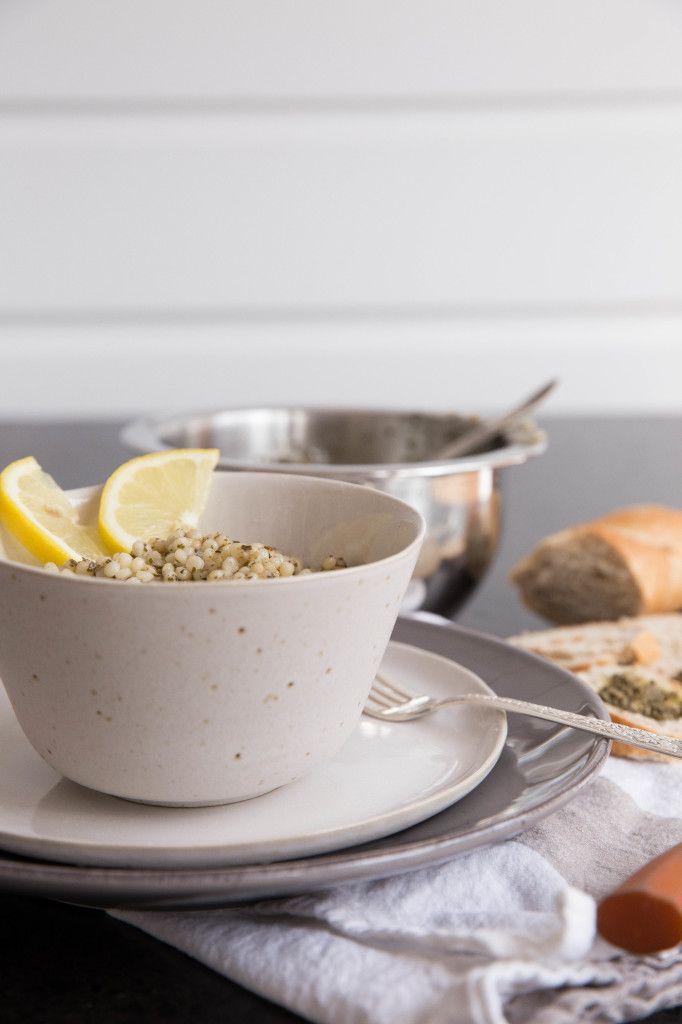 Israeli Couscous with Lemon Basil Pesto Sauce | WholeYum!