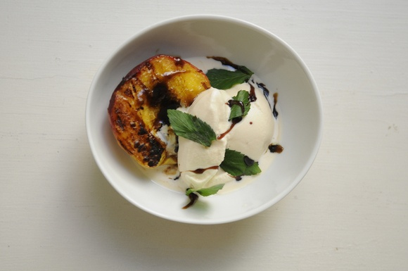 Grilled Mint Julep Peaches! Peach halves lightly grilled until barely ...