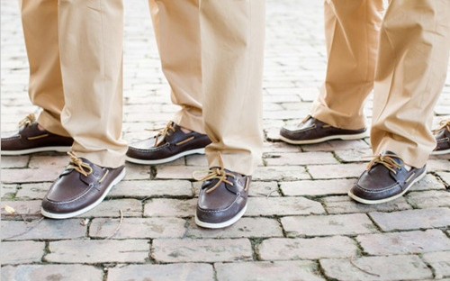 Boat shoes for groomsmen for beach wedding.
