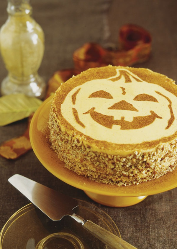 Pumpkin Spice Cake...you could buy a cheesecake and use a stencil ...
