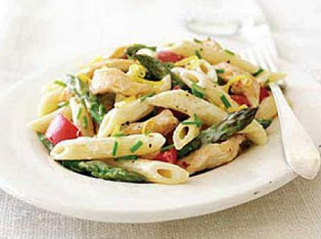 Penne with Chicken, Asparagus and Lemon Alfredo Sauce | Recipe