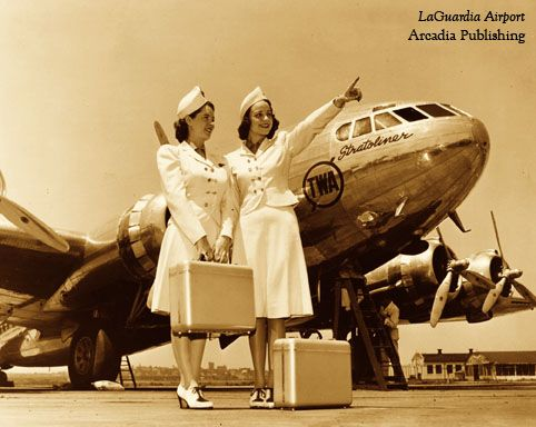 Air hostesses at LaGuardia Airport, c. 1940.